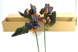 Home Interiors Magnolia Gold Blue Velvet Berries 2 Stems Filler Beautifu... - $16.70