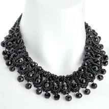 Fashion jewellery black woven glass crystal layered statement choker necklace - $16.99