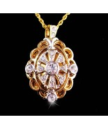 Vintage locket necklace - Victorian style - rhinestone keepsake - Sweeth... - $85.00