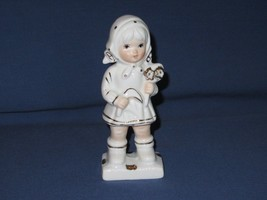 Vintage Capodimonte White and Gold Little Girl Figurine Holding Flowers - $10.35