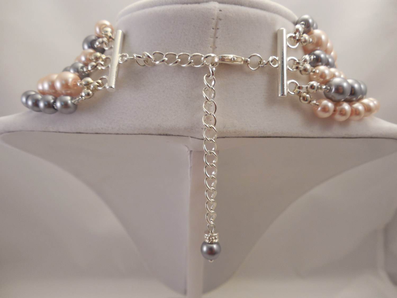 Elegant, Multi Strand Long Necklace with Peach Pink and Gray Glass Pearl