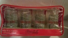 Coca Cola Coke Is It Anchor Hocking Glass Cup Set Of 4 Includes Case New - $21.99