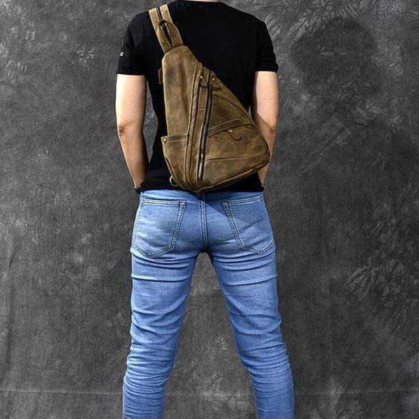 Sale, Horse Leather Men Chest Bag, Vintage Chest Pack Backpack image 5
