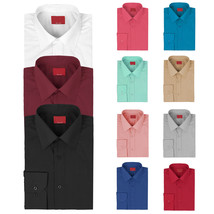 vkwear Red Label Men's Slim Stretch Muscle Fit Long Sleeve Solid Dress Shirt