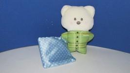 Fisher Price baby Cream green teddy bear Rattle Plush Blue dot satin bla... - $4.99
