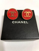 Authentic CHANEL Vintage Gold Red Logo Clip Earrings Coco HCE140 - $467.78