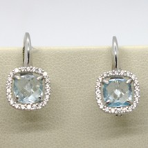 18K WHITE GOLD LEVERBACK EARRINGS CUSHION BLUE TOPAZ, ZIRCONIA FRAME, ITALY MADE image 2