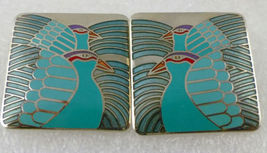 "LAUREL BURCH ""Moondoves"" Square Green Enamel and Silver-Tone Pierced EAR... - $25.00"