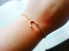 Matte Gold Sideways Wishbone Bracelet Gold Wishbone Charm Bracelet - $28.00
