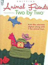 House of White Birches Animal Friends Two By Two Knit Afghan & Fun Anima... - $14.67