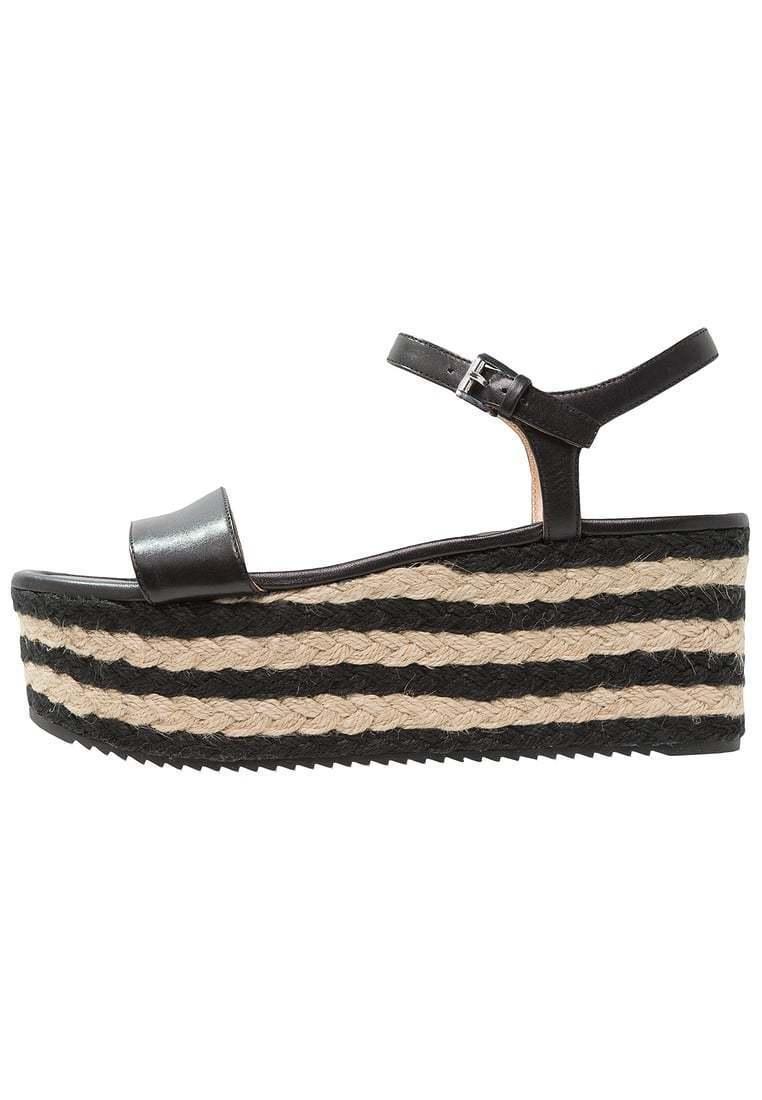 MICHAEL Michael Kors Nantucket Mid Wedge Sandals, Black Leather Multip Sizes NIB