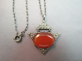 "Art Deco Sterling Silver Carnelian Marcasite Necklace Pendant Oval Stone 16.5"" - $127.71"