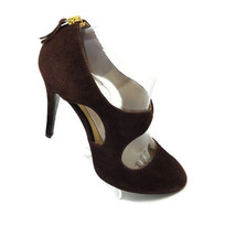 Guess Brown Suede Leather Stiletto Closed Toe Zip Up Back Pumps Shoes Womens 8 M - $25.69