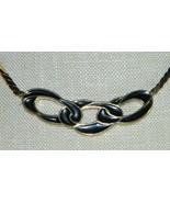 VTG TRIFARI Gold Tone Black Enamel 1970-80's Choker Necklace Interlink C... - $39.60