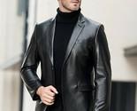 Men's Genuine Lambskin Leather Blazer Jacket Two Button Black Slim fit Coat - NF - £68.68 GBP