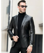 Men's Genuine Lambskin Leather Blazer Jacket Two Button Black Slim fit C... - £67.14 GBP