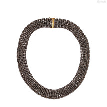 14k Yellow Gold Natural 22.39ct Diamond Pave Choker Necklace Handmade 92... - $2,580.33
