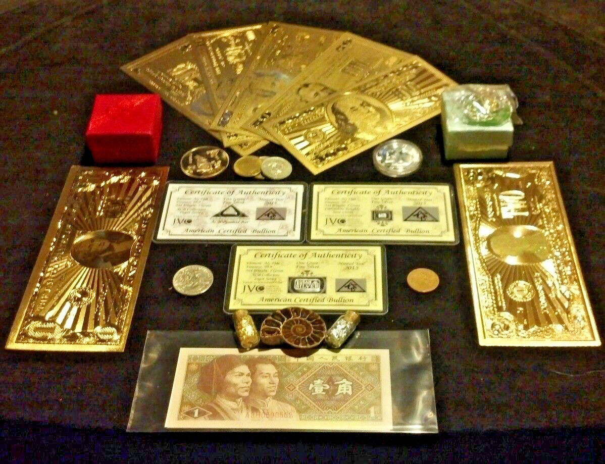 Primary image for 22Pc.LOT~COINS/FOSSIL/7GOLD.BANKNOTES/U.S&WORLD/3SILVER BARS/CHARM+NECKLACEs