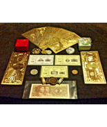22Pc.LOT~COINS/FOSSIL/7GOLD.BANKNOTES/U.S&WORLD/3SILVER BARS/CHARM+NECKL... - $33.50