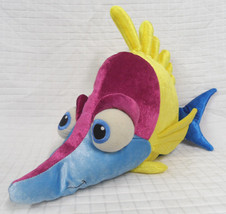 "Tad Finding Nemo 18/19"" Plush Blue Yellow Fish Disney Store Stuffed Velour Clean - $13.86"