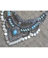 Bib necklace, silver bib necklace, Tribal, turquoise color necklace (988) - $32.00