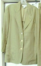 ANN TAYLOR PETITES Jacket Blazer Coat Linen Retro Look GREEN P/S VINTAGE - $29.95