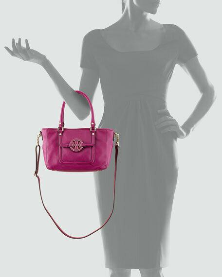 NWT Tory Burch Fuchsia Pink Amanda Leather Satchel Shoulder Bag image 3