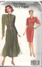 7885 Uncut Vogue Nähmuster Misses Kleid unter Knie Sehr Einfach 1990s Oo... - $5.57