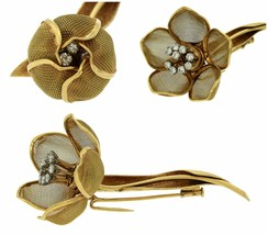 Ladies Vintage French 18K 750 Yellow Gold Flower Diamond Pin Brooch - $2,993.93