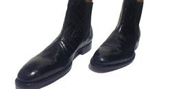 Handmade Men's Black Crocodile Texture Leather Chelsea Style Boot image 1