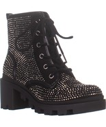 madden girl Dymond Zip Up Combat Boots, Black Multi, 6 US - $47.99