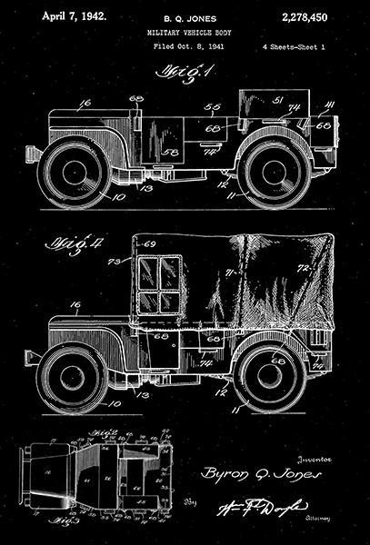 Primary image for 1942 - Military Vehicle Jeep - World War II - B. Q. Jones - Patent Art Poster
