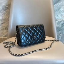 AUTH CHANEL Black Lambskin WOC Wallet on Chain WOC Bag SHW image 2