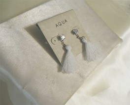 "Aqua Silver Tone 2"" Crystal White Tassel Stud Drop Earrings J552 $22 - $9.59"