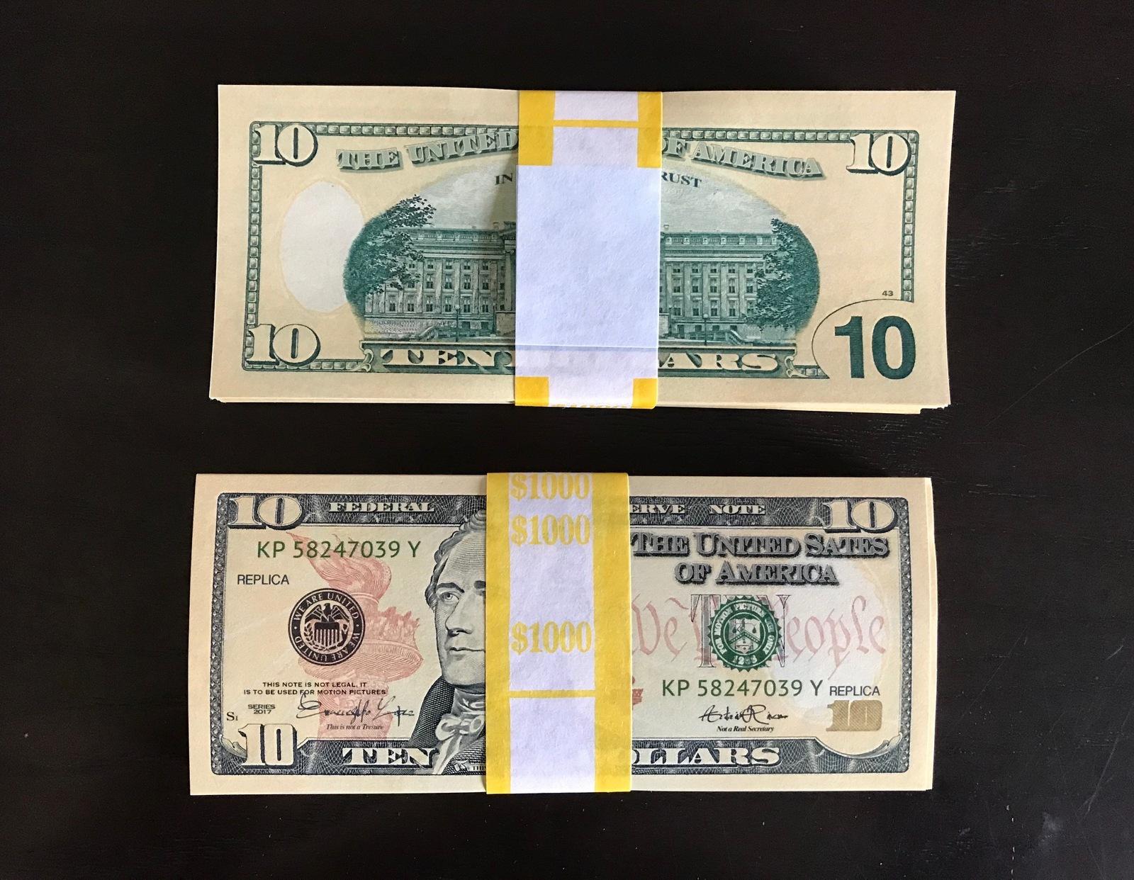 1.000 PROP MONEY REPLICA 10s All Full Print For Movie Video Films etc.