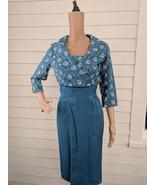 50s Bombshell Dress Blue Embroidered Sleeveless with Bolero Jacket Pinup XS - $85.00