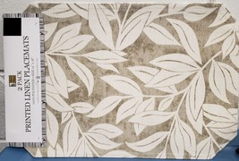 """Set Of 2 Linen Fabric Placemats 12"""" X 18"""", White Leaves On Greyish By Bh - $9.89"""