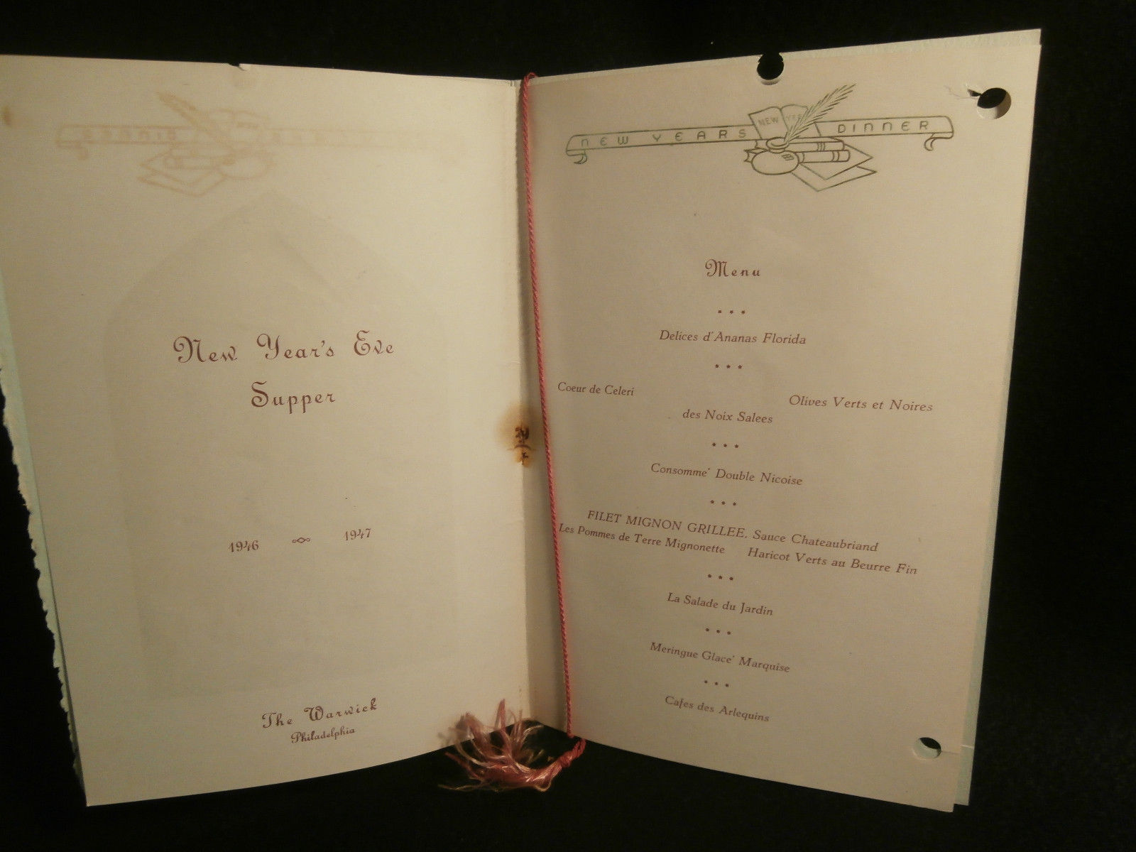 The Warwick Hotel Philadelphia PA Happy New Year Menu 1947