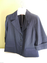 NWT Elie Tahari Navy Blue Elegant Lorana Jacket Dress Flared Linen Blazer M $398 - $178.00