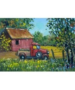 Orig Oil Painting aceo landscape Old Truck & Barn SFA ATC Sketch card mi... - $5.00