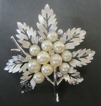 Vintage Crown TRIFARI Brooch Pin Brushed Silver Faux Pearls Crystal Rhin... - $34.60