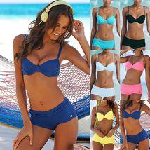 Womens Padded Bikini Set Boy Shorts Swimwear Bathing Suit Swimsuit Beachwear image 3