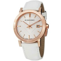 Burberry BU9012 Check White Leather Strap Womens Watch - $268.47 CAD