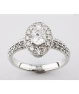 1.24 carat Oval Diamond 18k White Gold Engagement Ring Accents Size 6.5 - $3,644.26