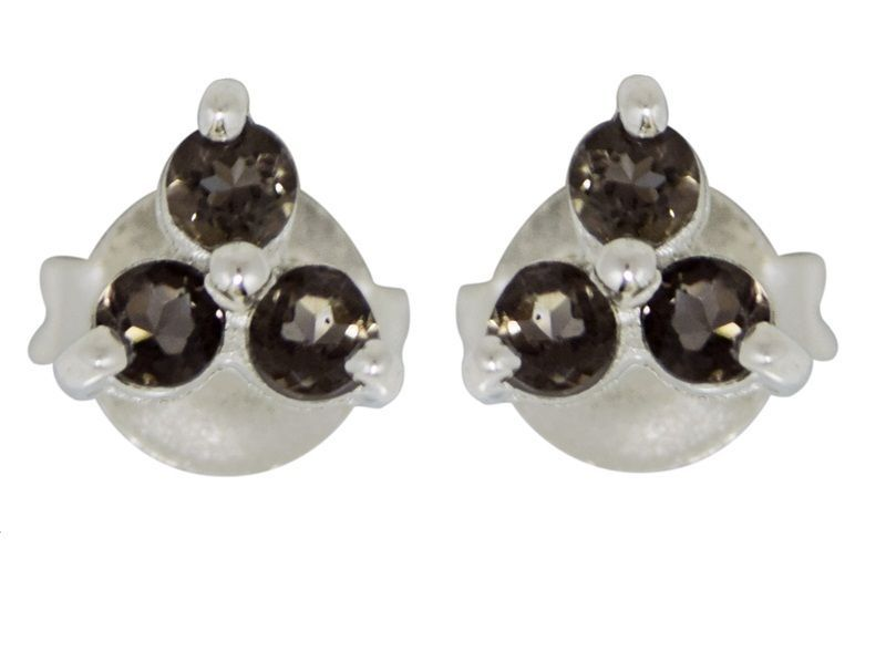 New Designer Smoky Quartz Gemstone 925 Sterling Silver Stud Earring SHER0234