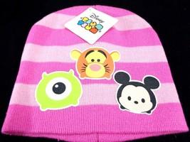 Tsum Tsum PInk Striped Hat Beanie One size Cap Disney Tigger Mickey Mons... - $6.92