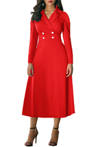 Red Vintage Button Collared Fit-and-flare Dress - $32.25