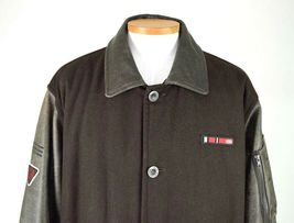 Marc Ecko Leather & Wool Heavy Bomber Jacket Brown Varsity Style Button Mens XL image 6