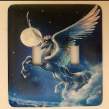 Pegasus Metal Switch Plate Double Toggle Unicorns  - $10.50
