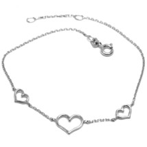 18K WHITE GOLD SQUARE ROLO MINI BRACELET, 7.5 INCHES, 3 HEARTS, MADE IN ITALY image 1